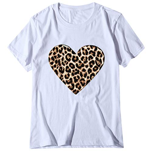 Janly Clearance Sale Tops para mujer, de manga corta casual O Neck Leopard Print en forma de corazón, para...