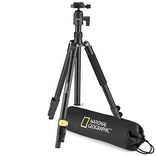 National Geographic NGTR001L - Kit de trípode de viaje con monopié, aluminio, patas de 4 secc., bloqueo por palanca, peso 6 kg, bolso, rótula de bola, liberación rápida, color negro