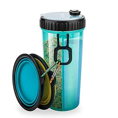 Kaimeilai Hunde Wasserflasche, Die Trinkflasche für Haustiere, Faltbar Hunde Reisenapf, Hunde Trinkflasche 2in1 Hunde Trinkflasche für Unterwegs Camping Spaziergang 350ml (mit 2 Faltschüsseln Blau)
