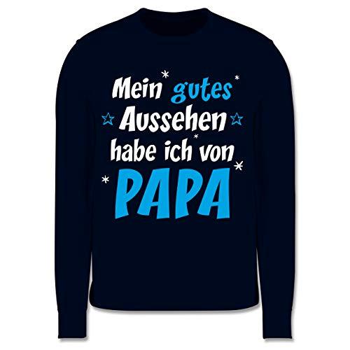 Shirtracer Sprüche Kind - Mein gutes Aussehen Papa Junge - 104 (3/4 Jahre) - Navy Blau - Pullover Jungs 104 - JH030K - Kinder Pullover