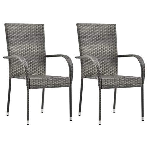 Sunlight - Sillas de jardín apilables para desayuno, sillas de comedor, 2 unidades, color gris