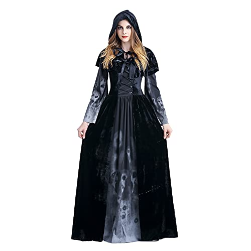 Sinifer Women's Drama Costume Vampire Gothic Victorian Queen Witch Fancy Dress with Velvet Cloak Cape Halloween Hooded Cosplay Black Ghost Zombie Party Outfits Medieval Renaissance(Black M)