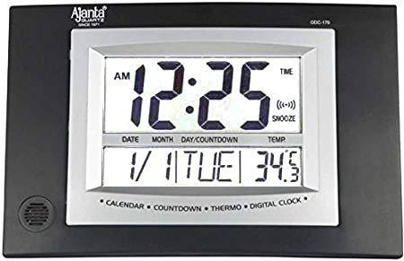 Ajanta Quartz Plastic Rectangle Digital Alarm Wall Clock (29 cm x 19 cm x 2.5 cm, Black, ODC 170)