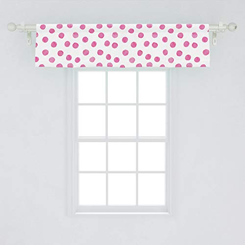 "Lunarable Polka Dot Window Valance, Sugar Pink Color Irregular Polka Dots Formed by Watercolor Paint Brush, Curtain Valance for Kitchen Bedroom Decor with Rod Pocket, 54"" X 12"", Pink White"