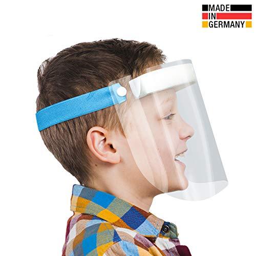 Urhome Hard 1 x Visier Gesichtsschutz aus Kunststoff | Face Shield in Blau | Universales Gesichtsvisier für Kinder | Visier zum Schutz vor Flüssigkeiten | Made in Germany
