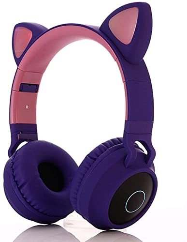 RCH Auriculares Bluetooth inalámbricos con Bluetooth, orejas de gato, mini Bluetooth 5.0 deportivo de alta fidelidad, plegable y ligero. púrpura (púrpura)