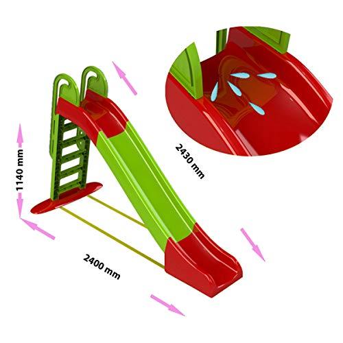 Doloni Große Kinderrutsche, Rutsche 240cm. (grün / rot)