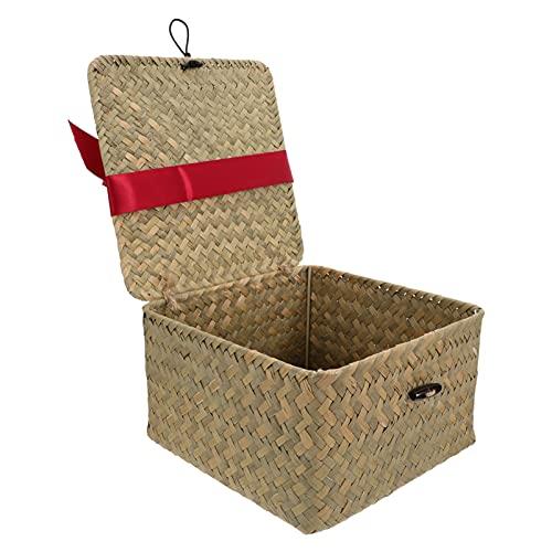 Cabilock Cesta de almacenamiento trenzada con tapa, rectangular, 20 x 20 x 11 cm, color rojo, cesta de almacenamiento para escritorio, organizador multifuncional para habitación, cocina o baño