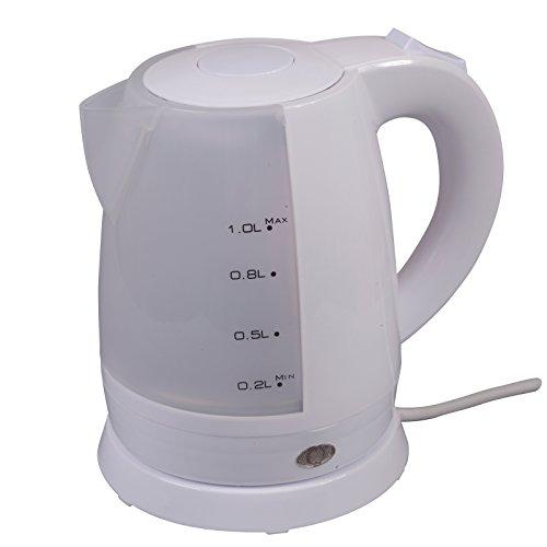 #0618 Kompakter, kabelloser Camping Wasserkocher 1 Liter Weiß nur 1000W • Tee Kessel Wasserkessel Elektrisch Kocher Küche Outdoor 1L