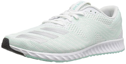 adidas Women's Aerobounce PR Running Shoe, White/Silver Metallic/Clear Mint, 8 M US