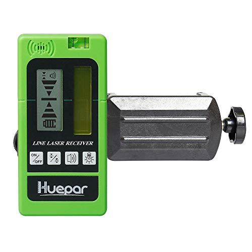 Huepar LR-5RG Laserdetektor für Puls-Kreuzlinienlaser, für Rote und Grüne Laserstrahlen bis zu 50m, Beidseitig Beleuchtete LCD-Displays mit Genauigkeitseinstellungen, Automatischer Abschaltzeit