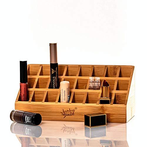 bambuswald© 24 Plätze Lippenstift Organizer Lippenstift Aufbewahrung Lippenstift Halter Kosmetik Organizer Lippenstift Ständer Bambus