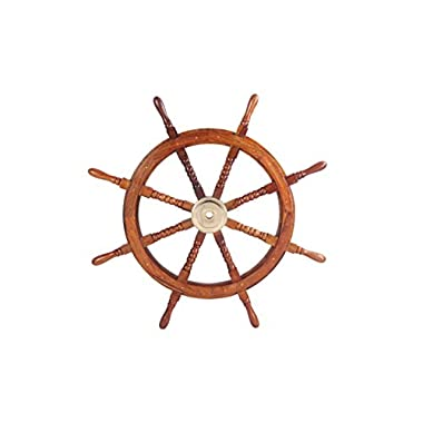 Benzara Nautical Sheesham Wood Decorative Ship Wheel With Brass Center, Brown