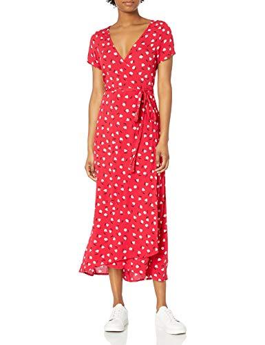 Billabong Women's Wrap Front Midi Length Dress, Havana red, L