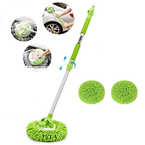 Kohree Car Wash Brush with Long Handle Adjustable, 3 in 1 Car Mop Mitt Cleaning Brush Set for Washing Car,Truck,RV with Chenille Microfiber Mitt, 41.34'