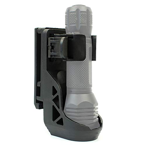 Yunshao Rotary Flashlight Holster with Adjustable Belt Clip, Tactical Flashlight Holder with Lever Side Lock System Only for 1'-1.25' Diameter Flashlight