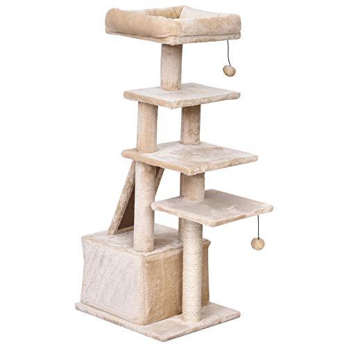 Pawhut Katzenbaum mit Hängebett, 5-Stock Kratzbaum, Katzenhaus mit Spielbällen,...