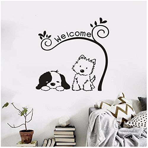 WANGHH Tienda de mascotas cartel de bienvenida pegatina de vinilo adorable gato perro calcomanía textos de bienvenida cartel de ventana de pared decoración de la puerta delantera del hogar 84x