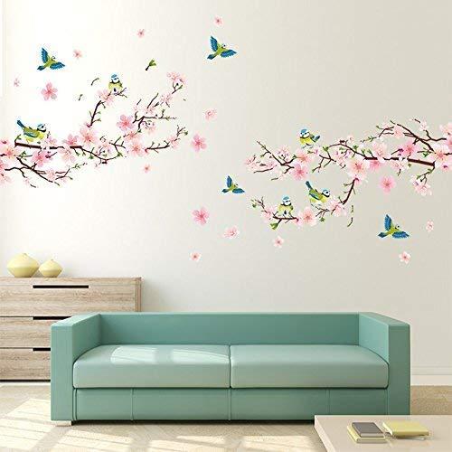 Alicemall PVC Wandtatoo Wandaufkleber Wanddeko Kinderzimmer Abnehmbare Sticker Blumen Wandsticker 2 Stück (Blumen)