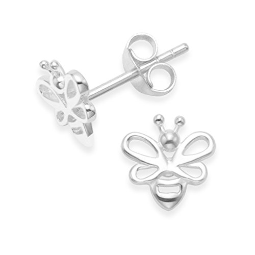 Sterling Silver Silver Bee Earrings - Silver Bee studs. Size: 8mm x (1/3 inch). Gift Boxed 5088
