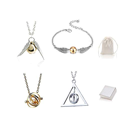 Wizard Friendship Necklace Bracelet Set Time Hourglass Golden Snitch Necklace with Gift Box Velvet Bag For Girls Women Cosplay Accessories