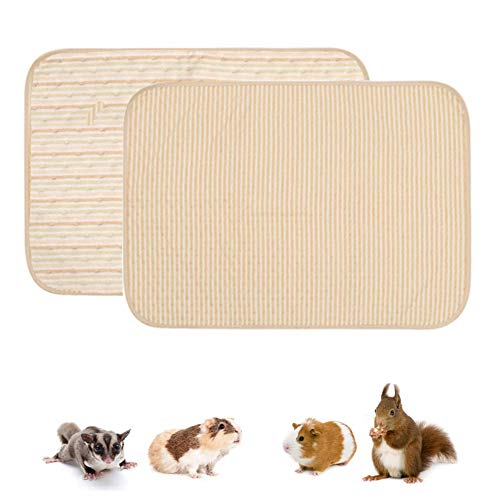ASOCEA Paquete de 2 forros de forro polar para jaulas de conejillo de indias almohadillas para orinar de animales pequeños esterilla de ropa de cama para mascotas pañales para hámster rata chinchilla
