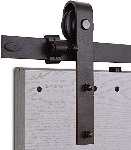 Herraje Puerta Corredera 305cm/10ft Negro, CCJH Riel Puerta Corredera Armario, Adecuado para 2 Puertas de 77 cm de ancho [J Shape Hanger]
