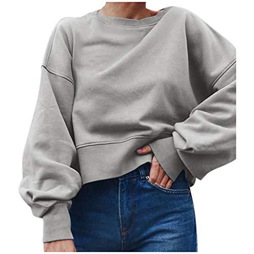 ➤Refill➤ Sweatshirt für Damen,Teenager Mädchen Mode Crop Top Sport Rundhals Shirt Bluse T-Shirts Hemd Tops Casual Langarm Pullover Oberteile Sweatjacke