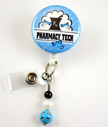 Pharmacy Tech RX Blue -Nurse Badge Reel - Retractable ID Badge Holder - Nurse Badge - Badge Clip - Badge Reels - Pediatric - RN - Name Badge Holder