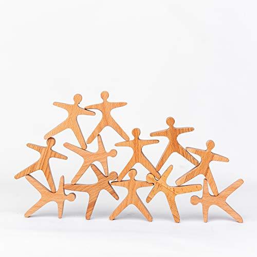 TRAUMHOLZIG Acrobatas apilables (12 piezas), juguete de equilibrio pedagógico, hecho a mano de madera de alta calidad y barnizado (12 piezas)