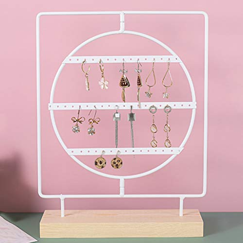 YUTRD ZCJUX Wrought Iron Rotatable Solid Wood Bottom Jewelry Rack, Creative Storage Ornaments, Hanging Earrings, Earrings, Necklaces, Home Display Racks (Color : C)