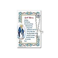 Needzo Hail メアリー One Decade ロザリオ ラペルピン 記念の祈りのカード付き 5 7/8インチ