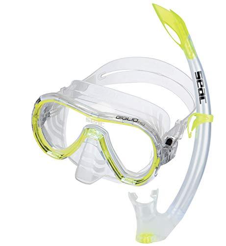 Seac Unisex Jugend Set Giglio MD Valve Schnorchelset mit Maske und Schnorchel mit Wasserausblasventil für Kinder, gelb, medium