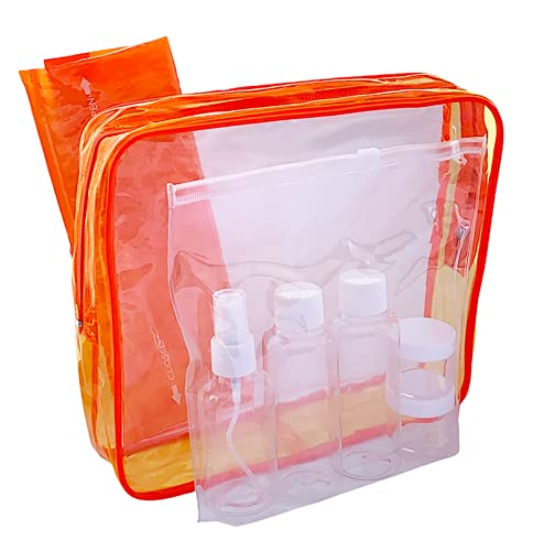 EEKHAM Neceser Transparente 5 en 1 - Impermeable Portátil de PVC Incluye Bolsa Transparente con Cierre Zip y 5 Botes para Viaje en Avión(100ml/80ml) 2 Bolsas de Aseo con Ventana Traslúcidas