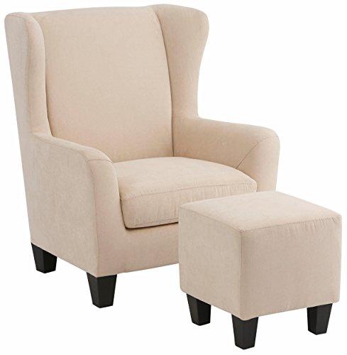 Loft24 A/S Sessel mit Hocker Ohrensessel Polstersessel Armsessel Fernsehsessel Lesesessel Vintage gepolstert Federkern (Creme, Mikrofaser)