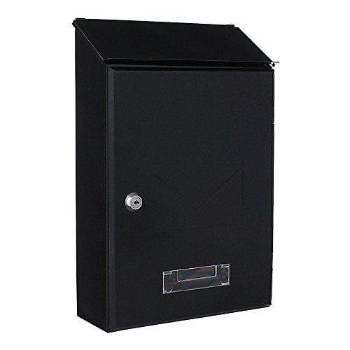 Rottner Briefkasten Pisa Anthrazit, Kleiner Briefkasten, Namensschild, Sichtfenster, Zylinderschloss