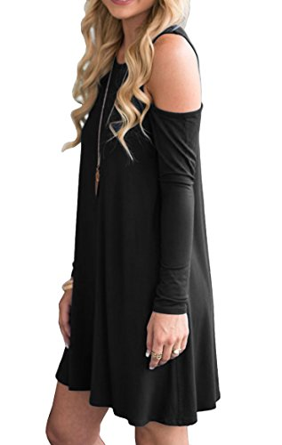 QIXING Women's Long Sleeve Cold Shoulder Casual Loose T-Shirt Dress Black-XL