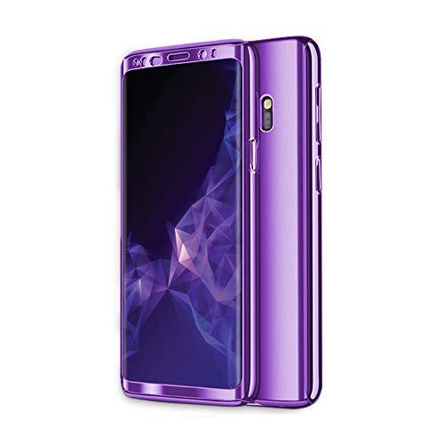 Zater Compatibel met hoes voor Samsung Galaxy S8/S9, Galaxy S7 telefoonhoes, 3-in-1 ultradunne harde schaal, 360 graden hard case, backcover, beschermhoes, bescherming voor Galaxy S9 Plus/S8 Plus S9 Plus paars
