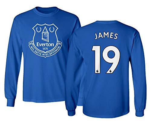 Spark Apparel Merseyside Blue #19 James Rodriguez Jersey Style Men's Long Sleeve T-Shirt (Royal, Small)