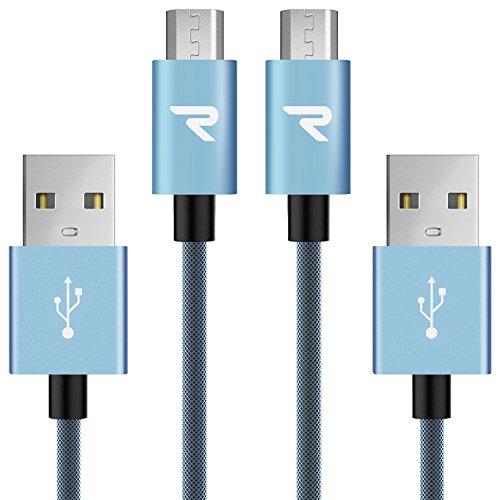 RAMPOW USB Kabel Micro Schnelle Aufladung mit Nylon Geflochtenes Micro USB Kabel Kompatibel mit Android Smartphones Samsung Huawei Kindle und Mehr 1M 2 Stucke Blau