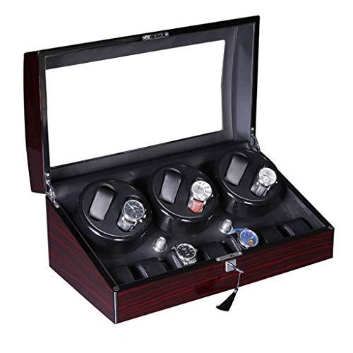 Caja de almacenamiento de lujo con rotación automática de 6+7 cajas de almacenamiento (carcasa de madera, almohada de cuero, motor silencioso) (color: marrón, tamaño: 48 x 26 x 21 cm)