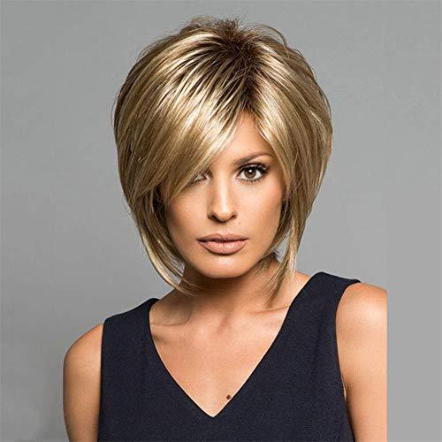 FFwig Flauschige Kurz Blond Haar Bob Perücken Mit Bangs Zum Frau Direkt Synthetik Perücke Natürlich Schauen ALS Real Haar 13