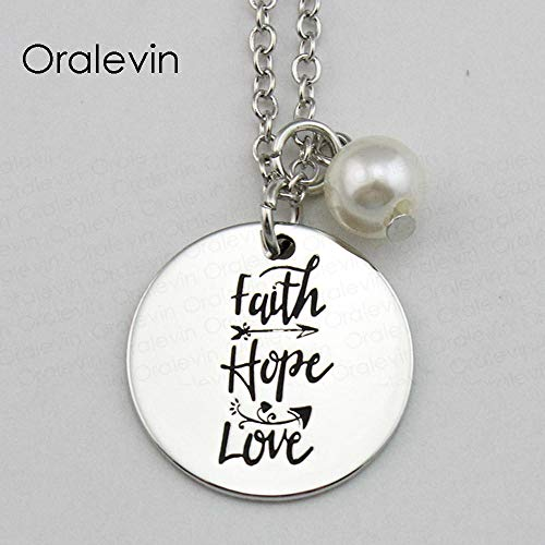 NCDFH Faith Hope Love Inspirational Hand Stamped Engraved Accessories Custom Pendant Necklace Gift Fashion Jewelry 10Pcs/Lot Bracelet