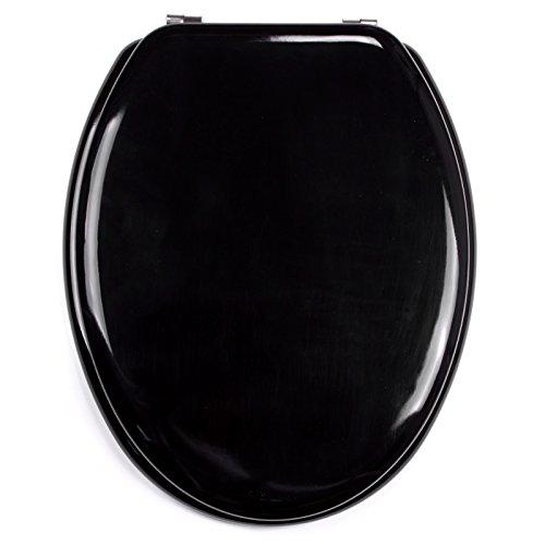 MSV 140343 - Sedile WC in Legno MDF/Acciaio Inox, 42,5 x 36,5 x 1,6 cm, Colore: Nero