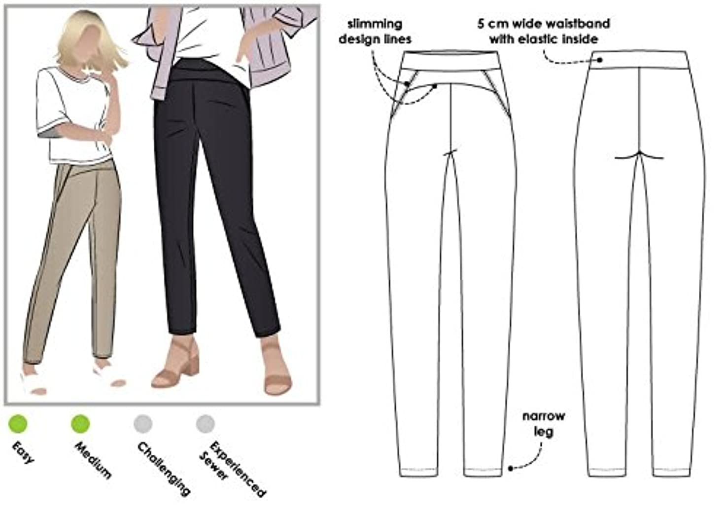 Style Arc Sewing Pattern - Sage Stretch Pant (Sizes 18-30) - Click for Other Sizes Available