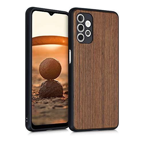 kwmobile Bumper Schutzhülle kompatibel mit Samsung Galaxy A32 5G - Holz Hülle Handy Hülle Cover Dunkelbraun