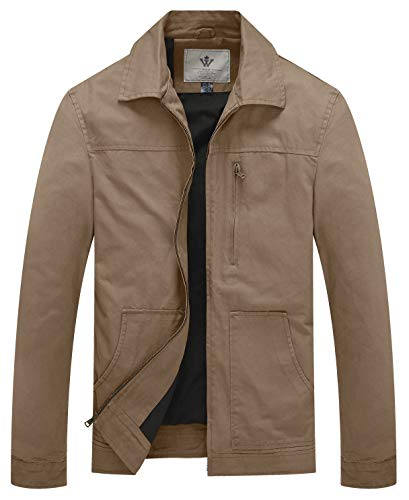 WenVen Men's Causal Cotton Military Windbreaker Lapel Jacket (Khaki,Medium)