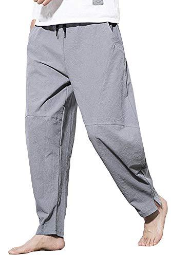 AITFINEISM Men's Relaxed Fit Elastic Waist Drawstring Cotton Linen Pants (34-36, Gray)