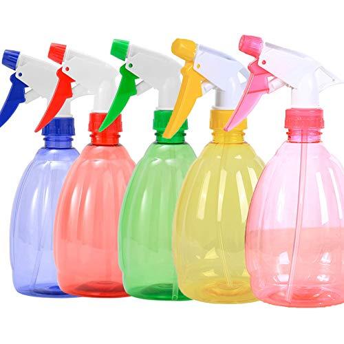 Spray Bottle Spruzzino 500 ml Nebulizzatori Spray in Plastica Spruzzino Nebulizzatore Trasparente per Piante Atomizzatore Riutilizzabile Utilizzato in Bagno,Giardino, Pulizia 5 Pezzi(Cinque Colori)