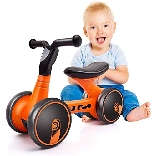 XJD Baby Balance Bikes 10-24 Month Children Walker Toys for 1 Year Old Boys Girls No Pedal Infant 4 Wheels Toddler Bicycle Best First Birthday New Year Holiday (Orange)
